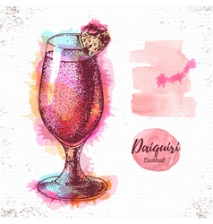 Watercolor cocktail daiquiri sketch vector