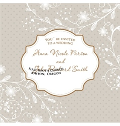 Wedding card with flowers on polka dot background vector
