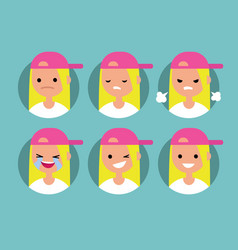 Young blonde girl wearing pink cap profile pics vector