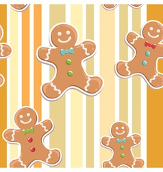 Cute gingerbread man seamless christmas colorful p vector