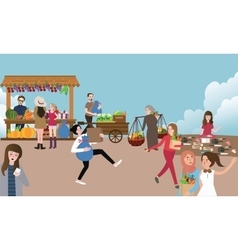traditional open market activity busy people vector image