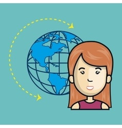Avatar woman with earth planet icon vector