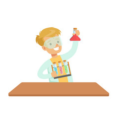 Biy chemist and test tubes kid doing chemistry vector
