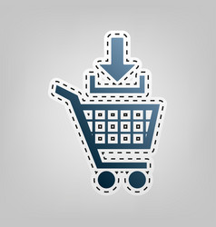 add to shopping cart sign  blue icon with vector image