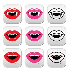 Vampire mouth vampire teeth buttons set vector