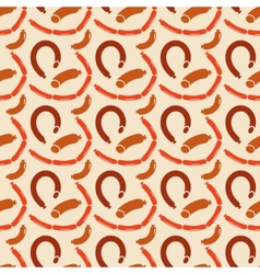 Seamless background of sausages vector