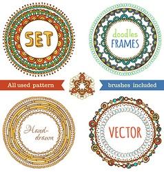 set of doodles ethnic frames vector image