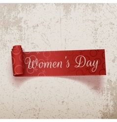 International womens day red scroll ribbon vector