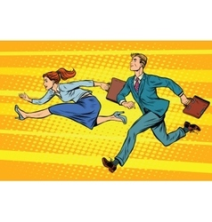 Businessman and businesswoman running competition vector