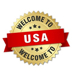 usa 3d gold badge with red ribbon vector image