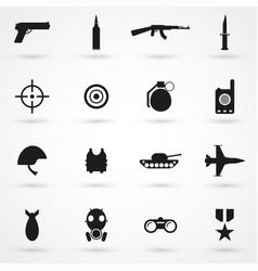War icons set black on white background vector