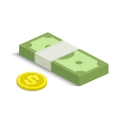 Cash and some gold coins vector