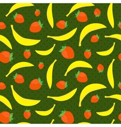 Seamless texture with bananas and strawberries vector