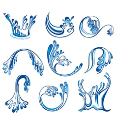 Set of water splashes vector image