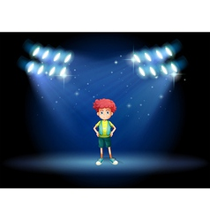 A stage with a young boy vector