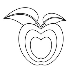 apple with leaves icon outline style vector image vector image