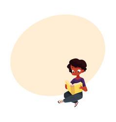 black african american boy kid reading book vector image