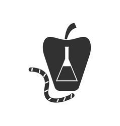 Black icon on white background test-tube apple vector