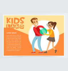 Boy bullying a girl teen kids quarreling vector