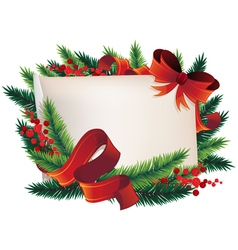 Christmas wreath with paper vector