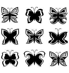 collection black and white butterflies isolat vector image vector image