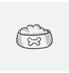 Dog bowl with food sketch icon vector image vector image