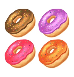 Donuts with icing on a white background vector image vector image
