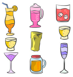 Doodle drink colorful various style vector