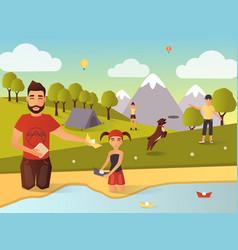 Family outdoor games in flat vector