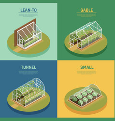 Greenhouse hothouse conservatory isometric set vector