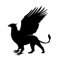 Griffin silhouette ancient mythology fantasy vector