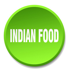 Indian food green round flat isolated push button vector