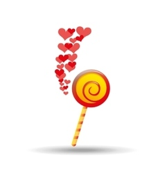 lollipop red and yellow round with red hearts icon vector image vector image