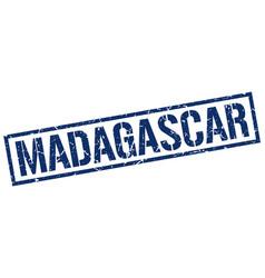 Madagascar blue square stamp vector