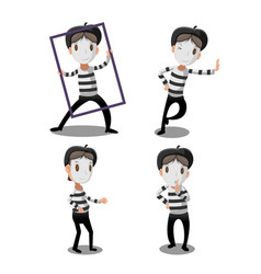 mime artist funny cartoon character vector image