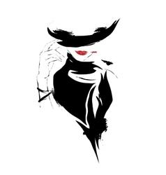 Modern girl sketch white background hat vector