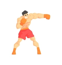 Muscly man boxing martial arts fighter fighting vector