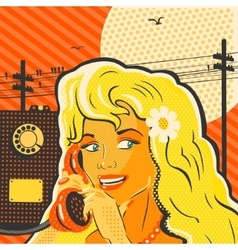 Pop art style girl with phone vector