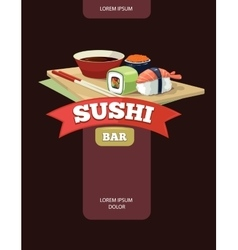 Poster of sushi rolls food vector