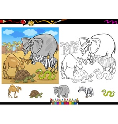 safari animals coloring page set vector image vector image