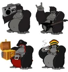 Set 4 funny gorilla vector
