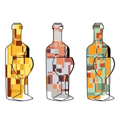 set of abstract wine vector image