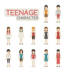 Set of cartoon teenagers characters eps10 vector image vector image