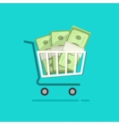 Shopping cart full pile of paper money vector