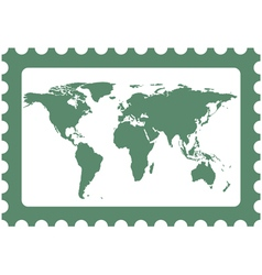 World map on stamp vector