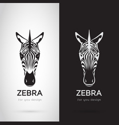 zebra head design on white background and black vector image