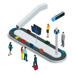 Suitcase on luggage conveyor belt in the baggage vector