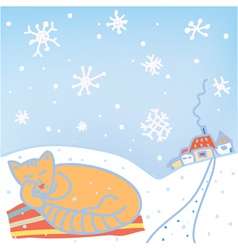 Christmas card with cat and snow vector