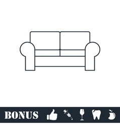 Armchair icon flat vector