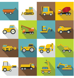 building vehicles icons set flat style vector image
